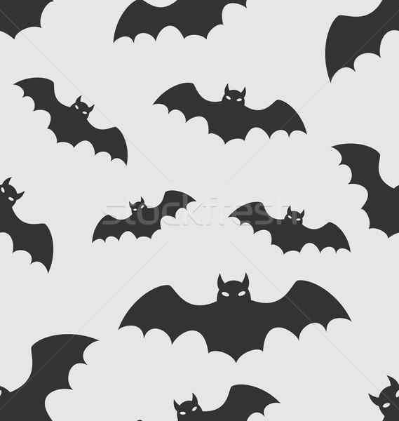 Stock fotó: Végtelen · minta · fekete · sziluettek · illusztráció · halloween · tapéta