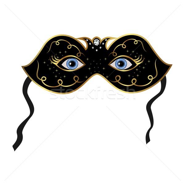 Kék szemek rejtett színpadi maszk illusztráció buli Stock fotó © smeagorl