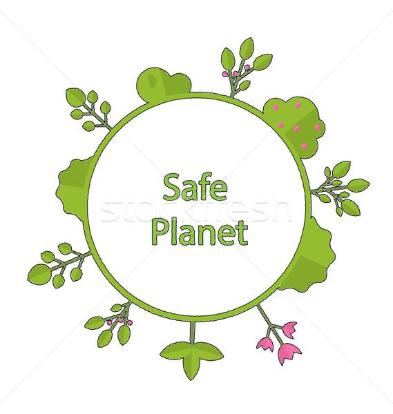 Frame vorm cirkel groene aarde plant Stockfoto © smeagorl