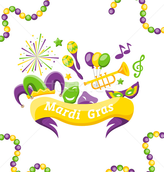 Celebration Banner with Set Carnival Icons and Objects for Mardi Gras, Fat Tuesday Stock photo © smeagorl