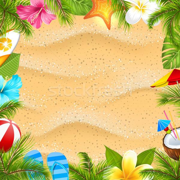 Yaratıcı poster palmiye yaprağı plaj topu çiçek denizyıldızı Stok fotoğraf © smeagorl