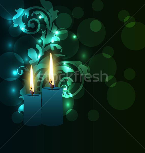 Greeting glowing card with candles for Diwali festival Stock photo © smeagorl