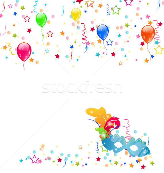 Carnival background with mask, confetti, balloons Stock photo © smeagorl