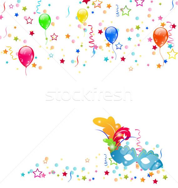 Carnevale maschera confetti palloncini illustrazione sfondo Foto d'archivio © smeagorl