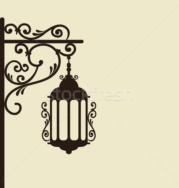 Vintage forging ornate street lantern isolated Stock photo © smeagorl