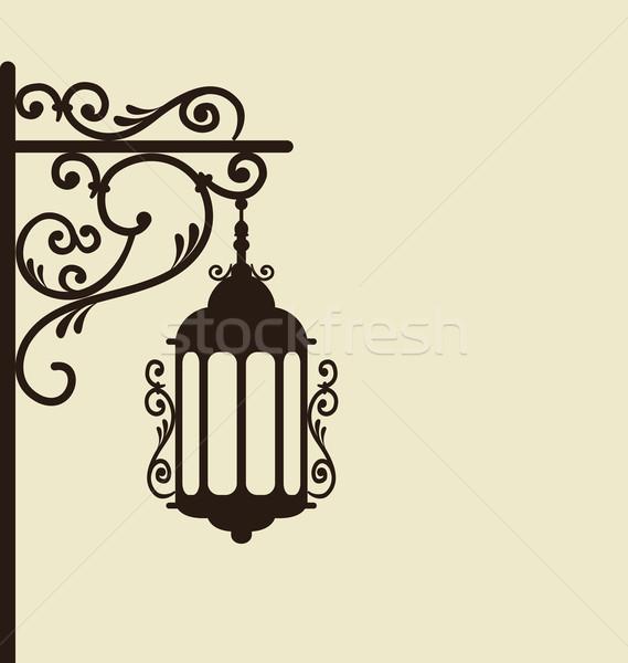 Vintage rua lanterna isolado ilustração Foto stock © smeagorl