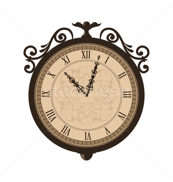 Forging retro clock with vignette arrows, isolated on white back Stock photo © smeagorl