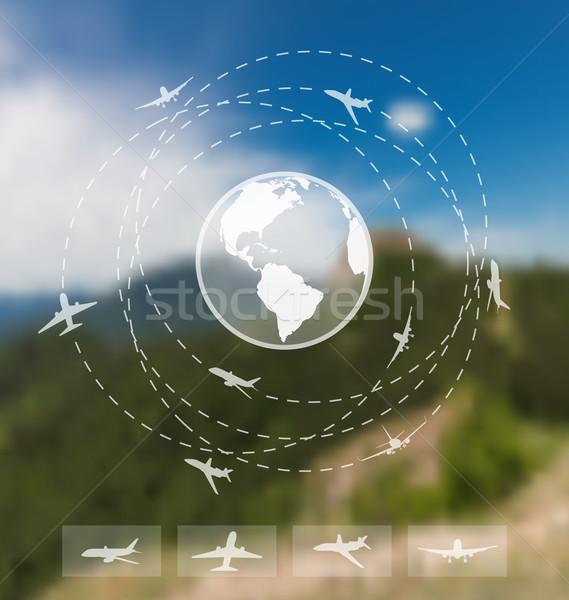 Projektu bilety światowy podróży internetowych komórkowych Zdjęcia stock © smeagorl