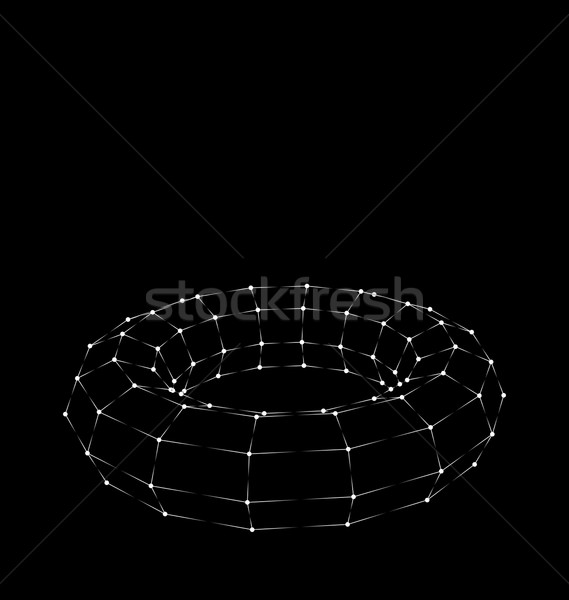 Wireframe 3D Torus with Bright Light Dots Stock photo © smeagorl