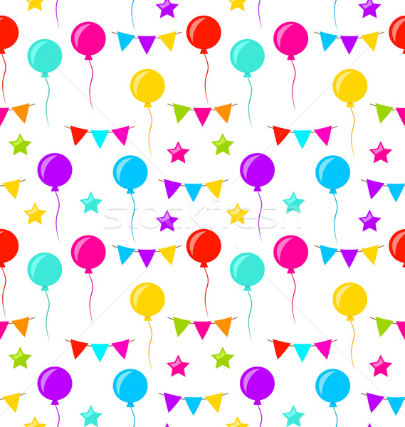 Seamless Texture with Bunting Party Flags, Balloons, Stars Stock photo © smeagorl