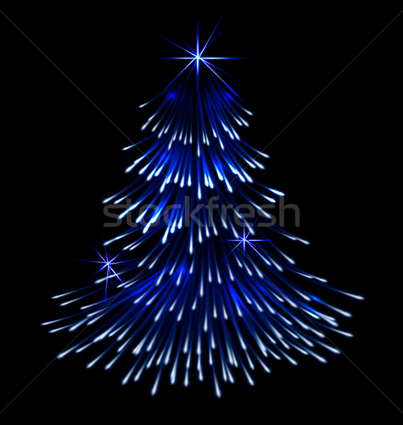 Blue spruce fir christmas  trace fireworks Stock photo © smeagorl