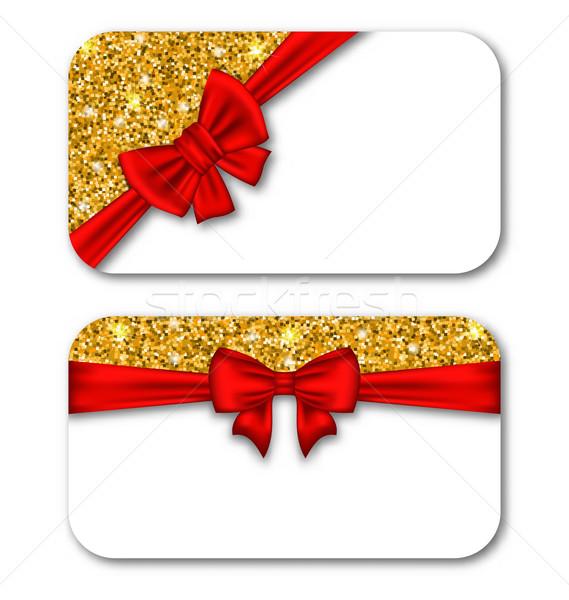 Papier kaarten Rood boeg lint gouden Stockfoto © smeagorl