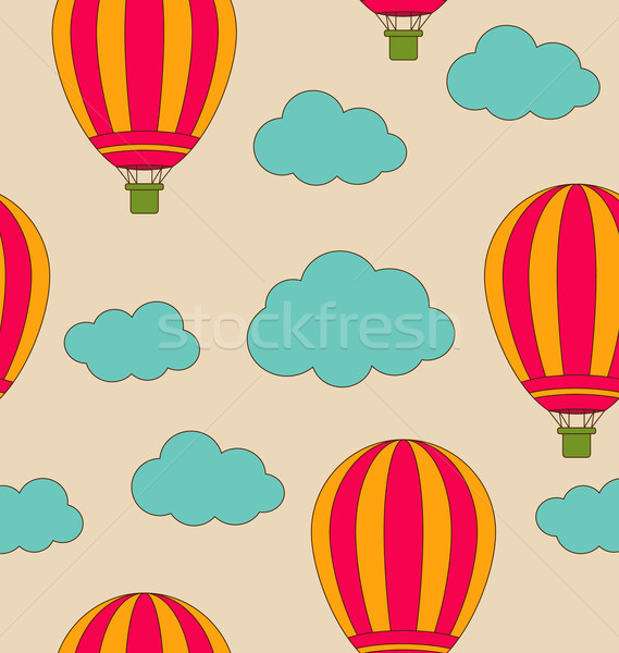 Retro Seamless Travel Pattern of Air Balloons and Clouds Stock photo © smeagorl