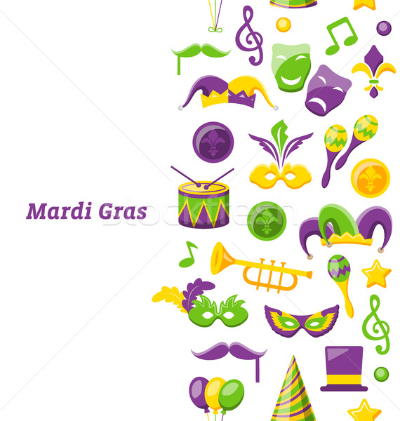 Greeting Invitation for Mardi Gras and Carnival , Seamless Texture, Fat Tuesday Stock photo © smeagorl