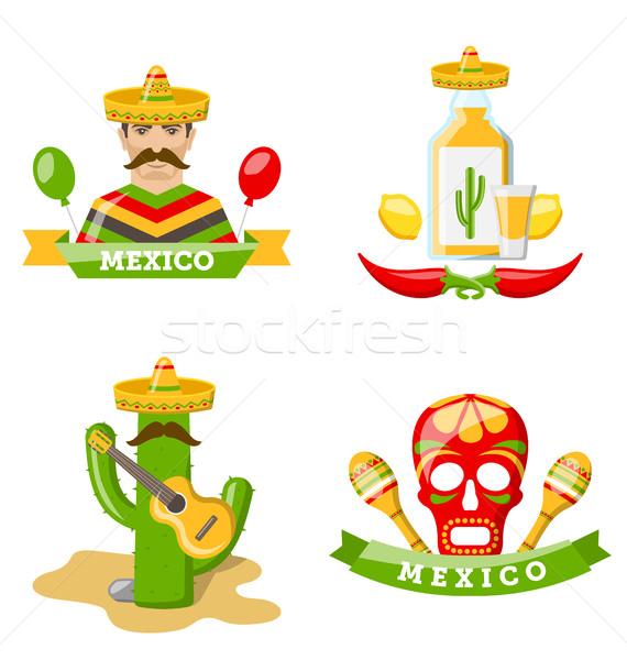 Set of Mexico Icons Isolated on White Background Stock photo © smeagorl
