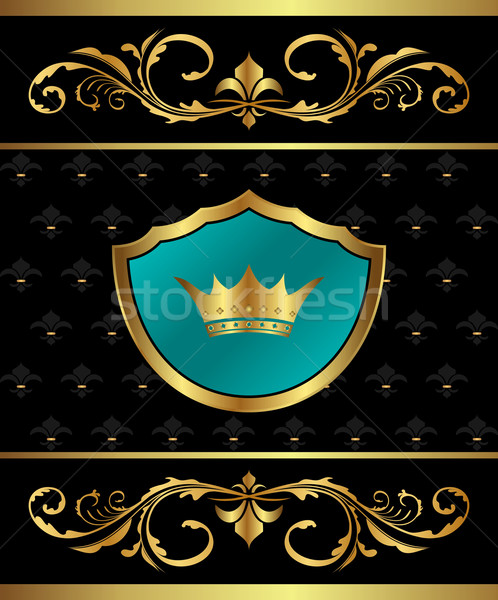 Golden frame with heraldic elements Stock photo © smeagorl
