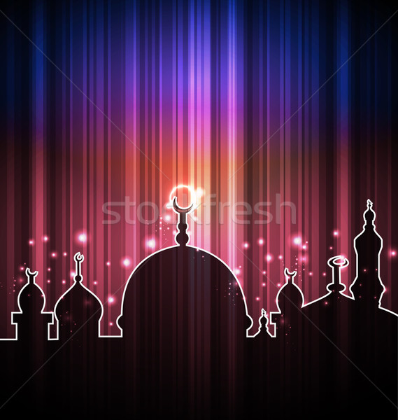 Cute shine card with mosque Stock photo © smeagorl