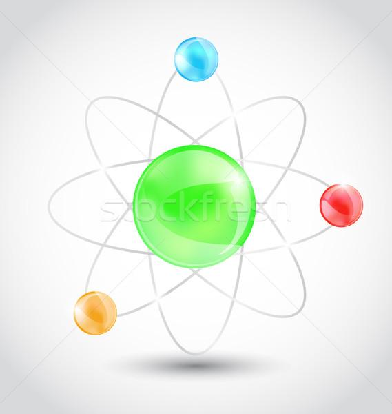 Foto stock: átomo · símbolo · isolado · branco · ilustração · tecnologia