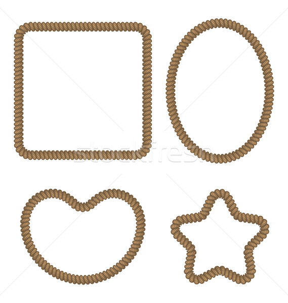 Rope geometric figures in different forms - rectangle, oval, hea Stock photo © smeagorl