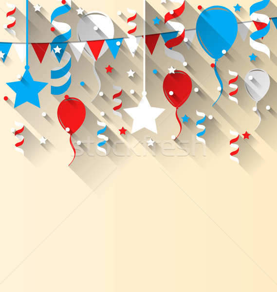 American patriotic background with balloons, streamer, stars and Stock photo © smeagorl
