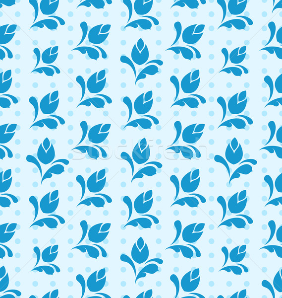 Seamless Pattern with Floral Elements, Blue Background Stock photo © smeagorl