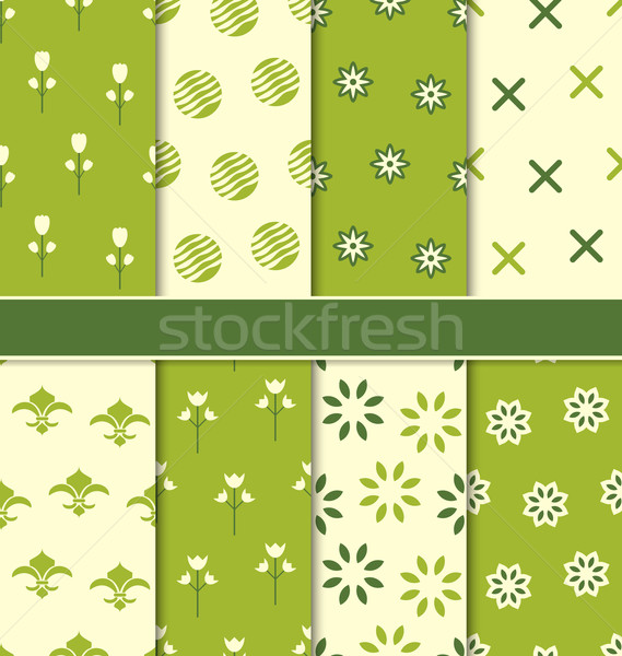 Collection of 8 Seamless Abstract Floral Ecologic Pattern Stock photo © smeagorl