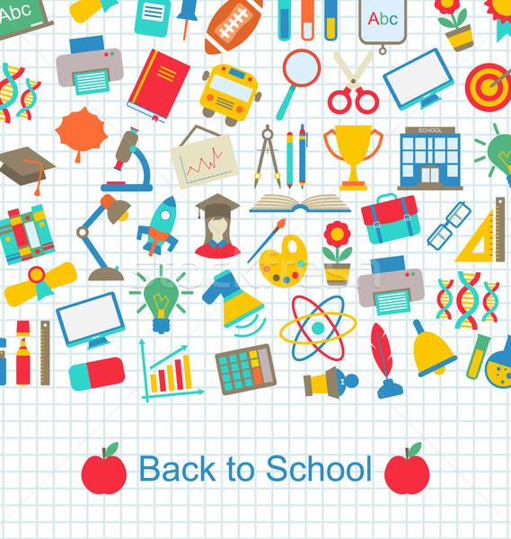 Vissza az iskolába oktatás tárgyak illusztráció iskola monitor Stock fotó © smeagorl