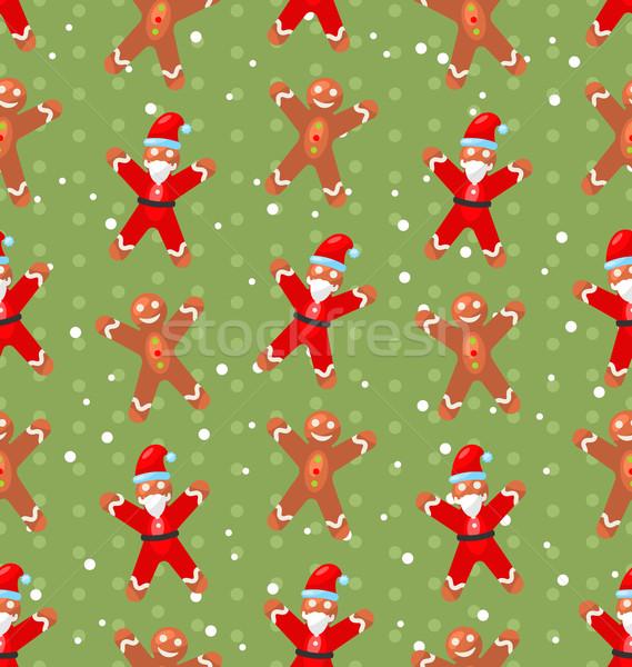 Naadloos kerst patroon kerstman sneeuw snoep riet Stockfoto © smeagorl