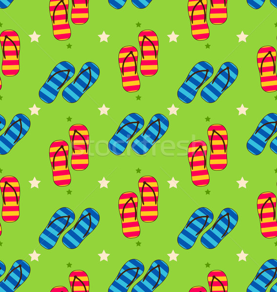 Summer Seamless Pattern with Set of Pair of Flip-flops Stock photo © smeagorl