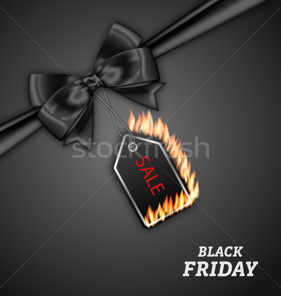 Sale Discount with Fire Flame, Black Bow Ribbon for Black Friday Stock photo © smeagorl