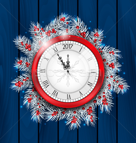 Christmas Fir Twigs with Clock for 2017 New Year Stock photo © smeagorl