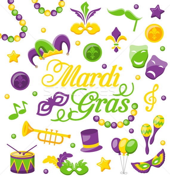 Celebration Background with Set Mardi Gras and Carnival Icons and Objects Stock photo © smeagorl