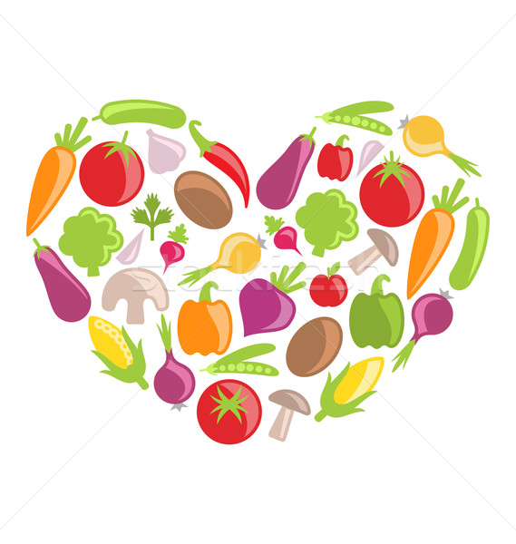 Set Colorful Vegetables in Heart Shape Stock photo © smeagorl