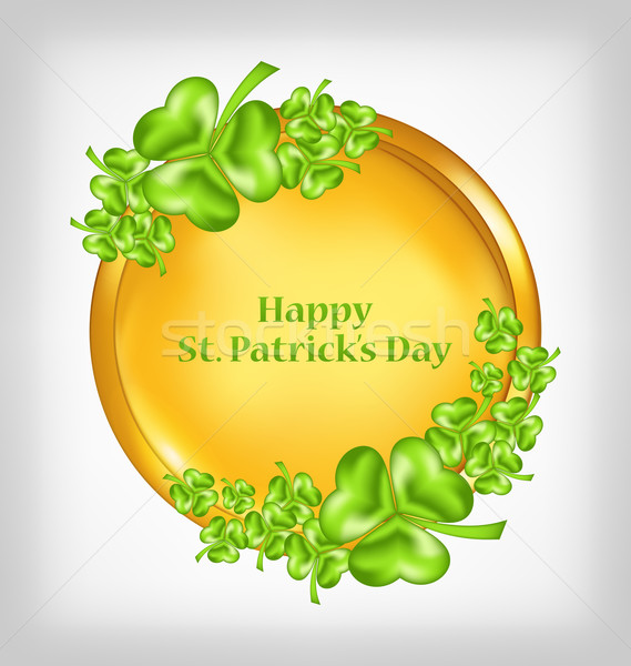 golden coin with shamrocks. St. Patrick's Day symbol  Stock photo © smeagorl