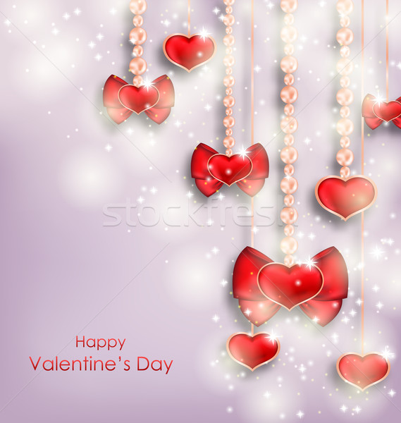 Shimmering Background with Hanging Hearts for Valentines Day Stock photo © smeagorl