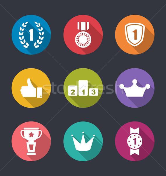 Iconen collectie trofee borden lang Stockfoto © smeagorl
