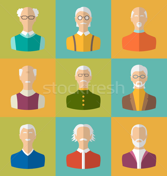 Old people Icons of Faces of Old Men. Grandfathers Characters Stock photo © smeagorl