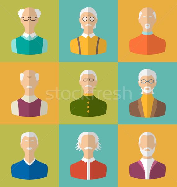 Idős emberek ikonok arcok öreg férfiak betűk Stock fotó © smeagorl
