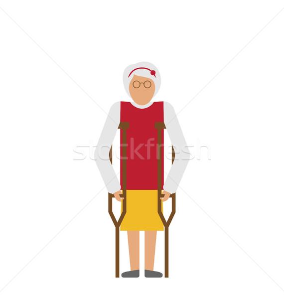 女性 松葉杖 身体障害 高齢者 祖母 ストックフォト © smeagorl
