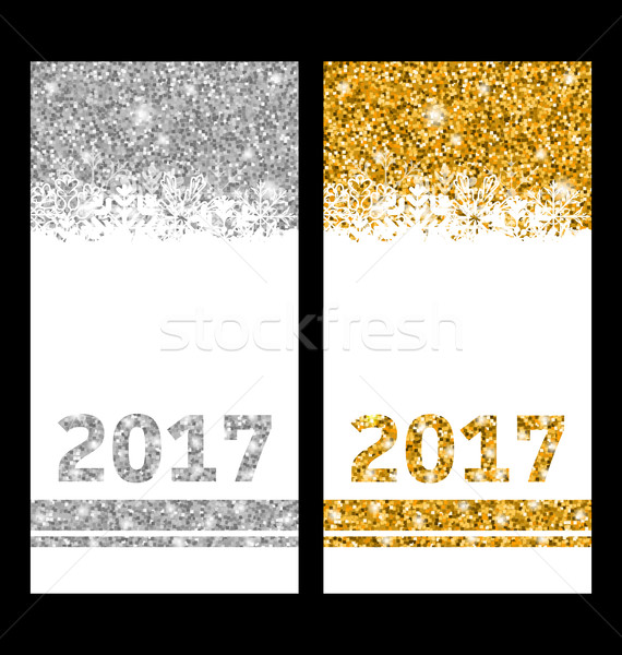 Shiny Festive Cards with Snowflakes and Sparkles Stock photo © smeagorl