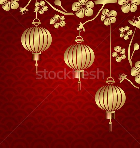 Japans chinese gouden lantaarns sakura illustratie Stockfoto © smeagorl