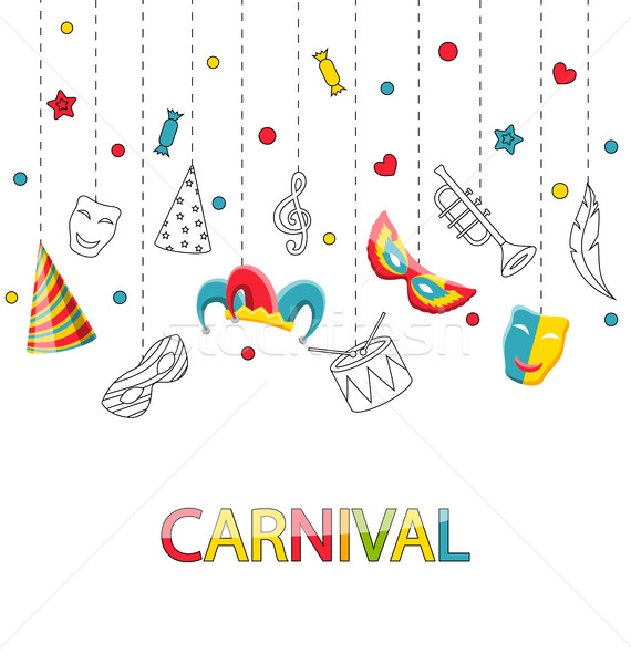 Stock photo: Greeting Festive Poster for Happy Carnival