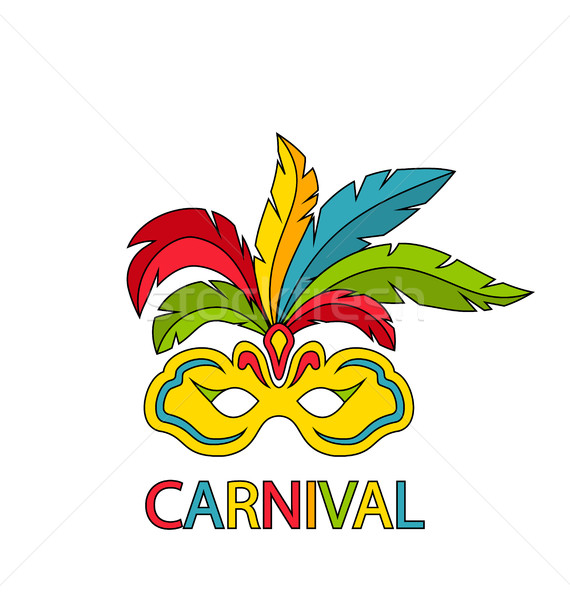 Carnival Mask with Colorful Feathers Isolated Stock photo © smeagorl