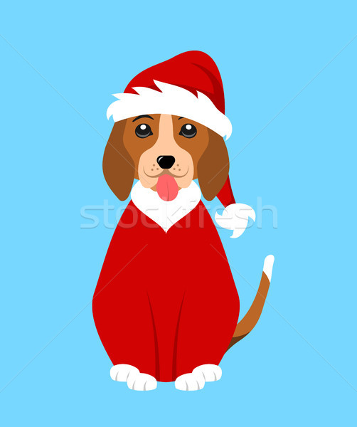 Stock photo: May your days be merry and bright. Merry Christmas greeting card with funny pug dog in Santa hat, ve