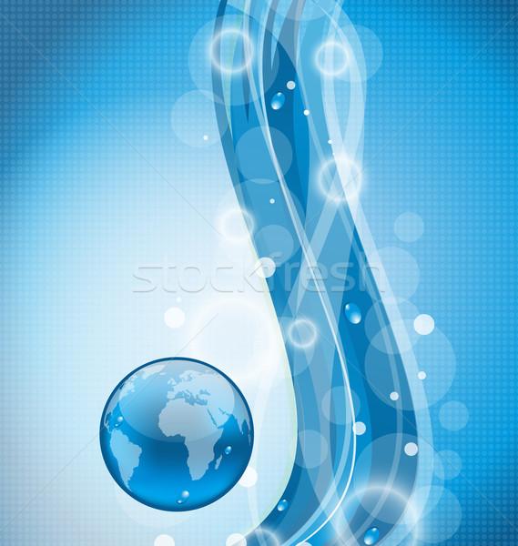 Ilustração ondulado água terra planeta globo Foto stock © smeagorl