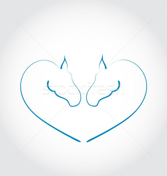 Two horses stylized heart shape Stock photo © smeagorl