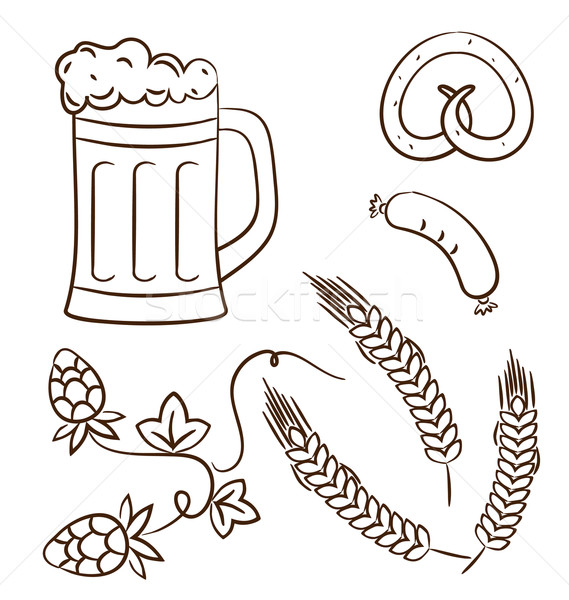 Octoberfest cartoon design elements (2), hand drawn style Stock photo © smeagorl