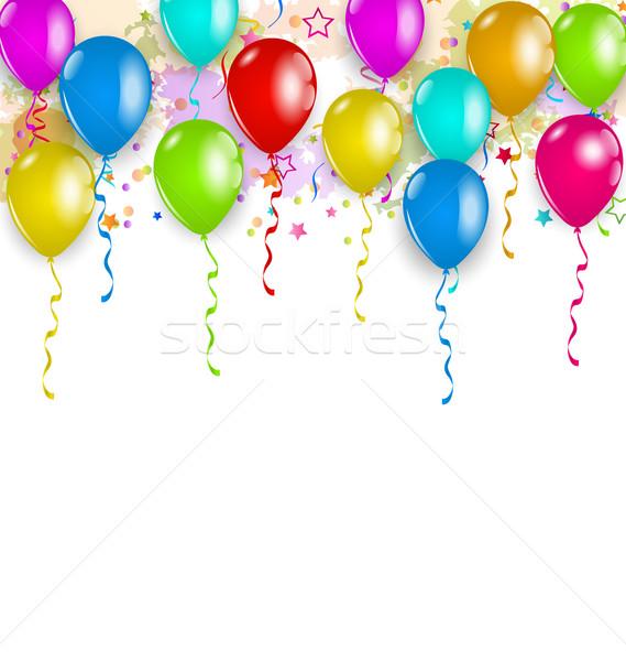 набор вечеринка шаров конфетти пространстве текста Сток-фото © smeagorl