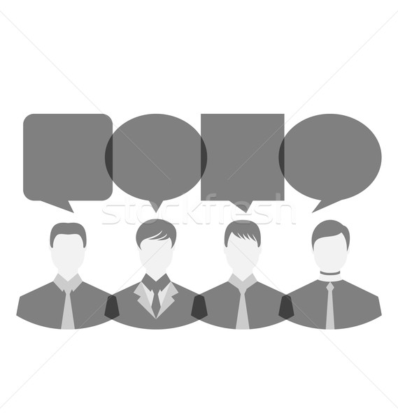 Icons of businessmen with dialog speech bubbles, copy space for  Stock photo © smeagorl