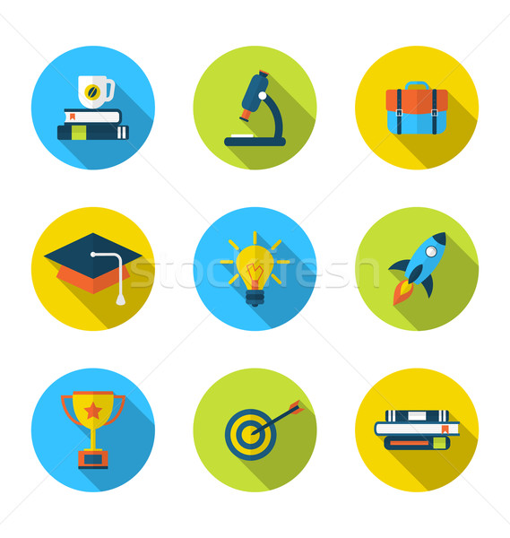 Stock photo: Flat icons of elements and objects for high school and college e